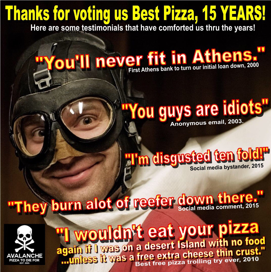 Best-of-Athens-Avalanche-Pizza-15-years-running-Advert